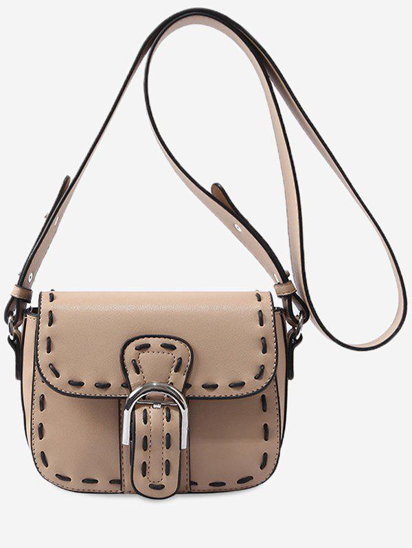 Fashion PU Leather Flap Whipstitch Retro Crossbody Bag