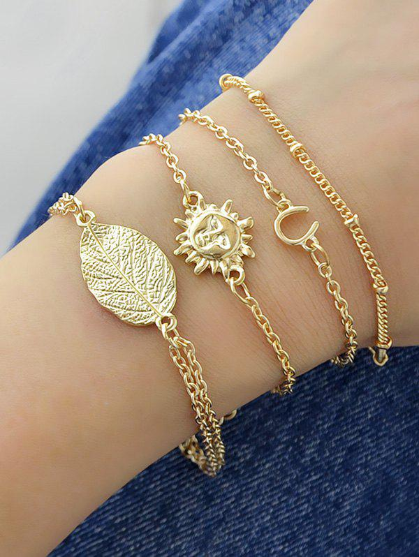 Affordable 4Pcs Sun Face Chain Bracelet Set