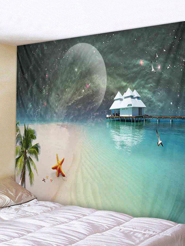 Store Wall Hanging Art Moon Starry Sky Beach Print Tapestry