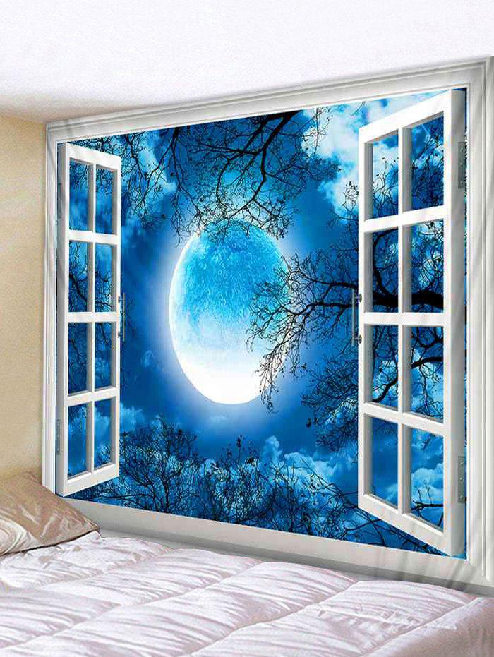Trendy Wall Hanging Art Window Moon Forest Print Tapestry