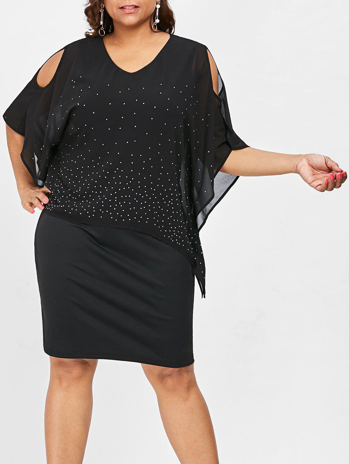 Buy Plus Size Cold Shoulder Capelet Dress