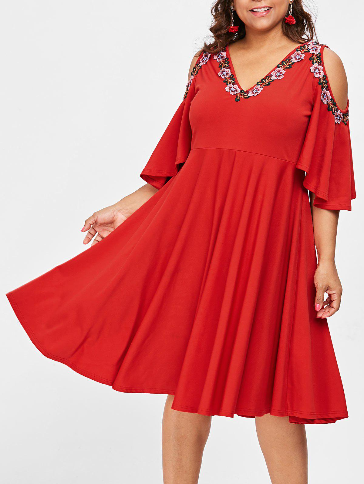 36% OFF] Plus Size Embroidered Cold Shoulder Swing Dress | Rosegal