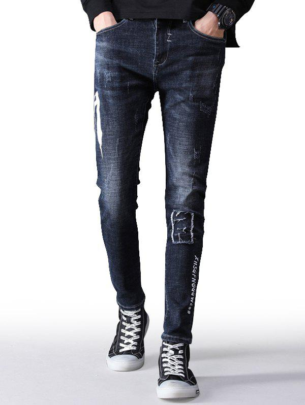 Hot Zip Fly Letter Print Taper Fit Jeans