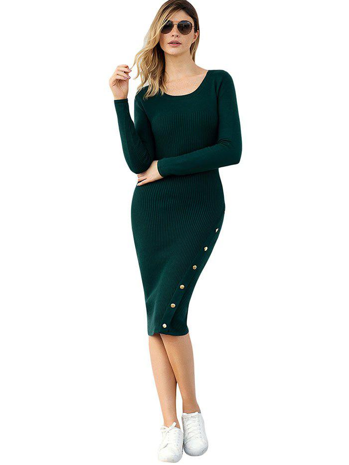 Fancy Bodycon Button Embellished Sweater Dress