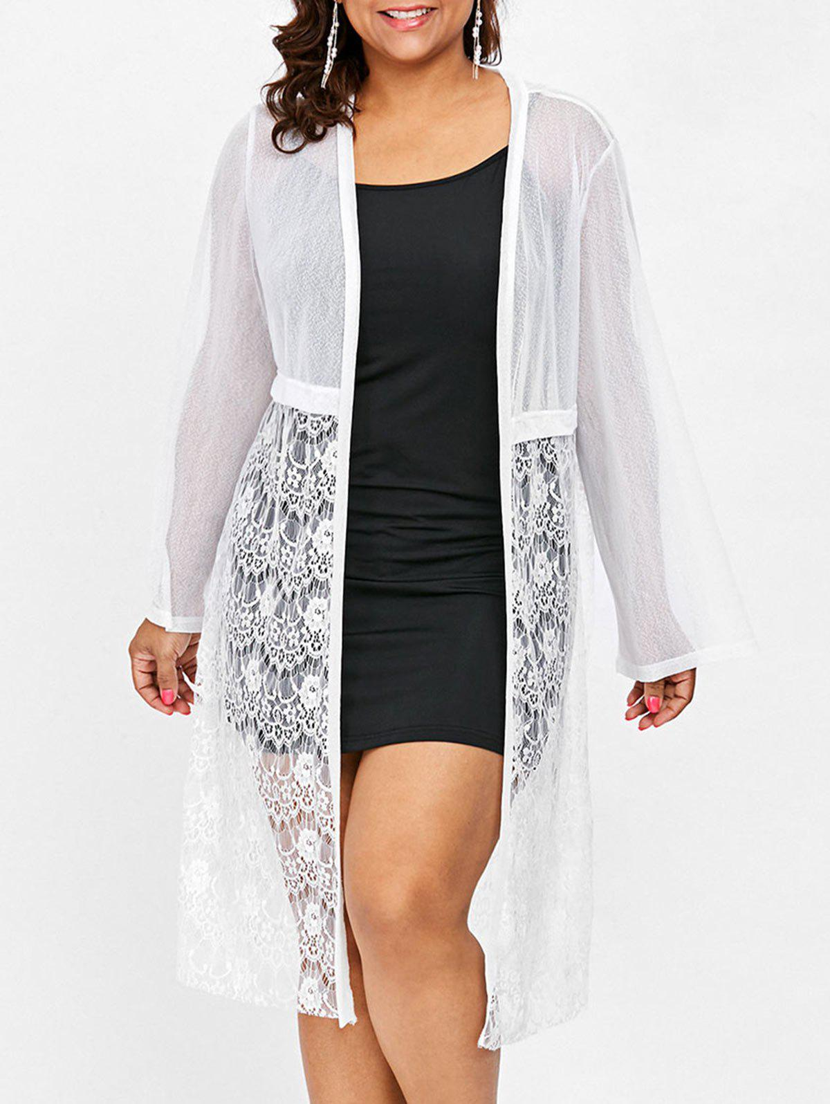 Cheap Plus Size Lace Knee Length Coat