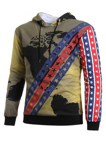 Vintage Stars and Stripes with Map Print Hoodie
