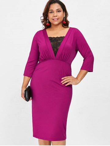 Plus Size Lace Trim Empire Waist Dress