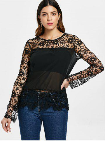 323400664d0 Stylish Round Neck Long Sleeve Spliced Hollow Out Women s Blouse