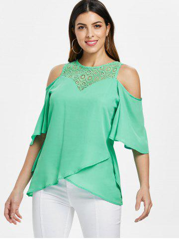 Lace Back Zipper Flowy Blouse