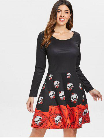 Long Sleeve Skull Print Halloween Dress