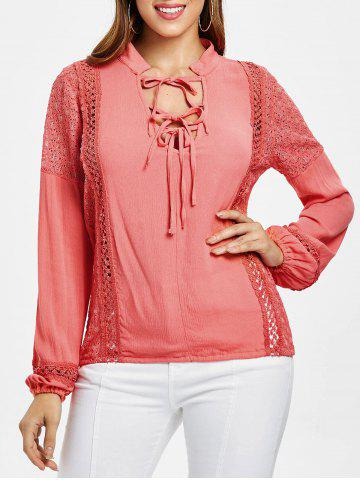 Lace Insert Self Tie Blouse - WATERMELON PINK - 2XL