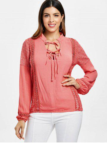 Lace Insert Self Tie Blouse