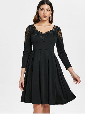 Embroidery Mesh Panel Skater Dress