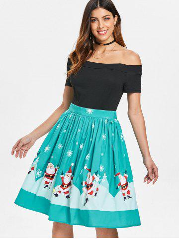 Christmas Off The Shoulder 50s Swing Dress