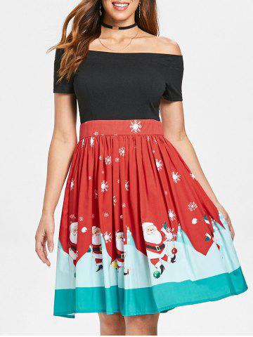 Christmas Off The Shoulder 50s Swing Dress - RED - L