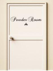 Autocollants de Porte Motif Inscription Powder Room -
