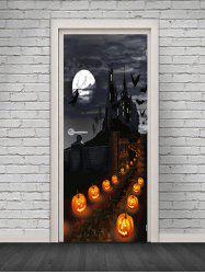 Halloween Castle Pumpkin Pattern Door Cover Stickers -