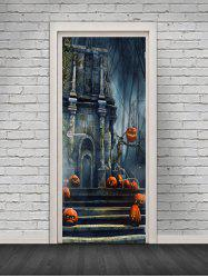 Halloween Castle Pattern Door Cover Stickers -