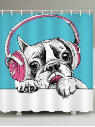 Dog with Earphones Print Waterproof Bathroom Shower Curtain -