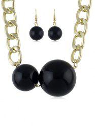 Beads Decoration Chain Necklace with Earrings -