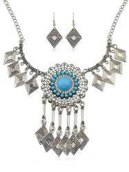 Geometric Hollow Beads Pendant Necklace Earrings Set -