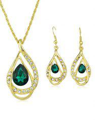 Artificial Diamond Water Drop Pendant Necklace Earrings Set -