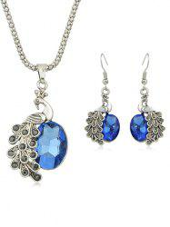 Peacock Rhinestone Pendant Necklace with Earrings -