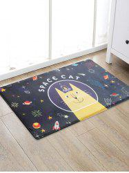Space Cat Print Water Absorption Area Rug -