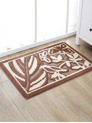 Butterfly and Leaf Pattern Water Absorption Doormat -