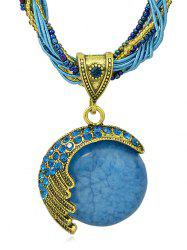 Bohemian Artificial Gem Beads Pendant Necklace -