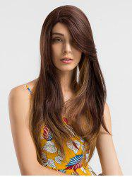 Long Side Parting Colormix Straight Lace Front Synthetic Wig -