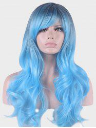 Long Inclined Bang Colormix Wavy Party Cosplay Synthetic Wig -