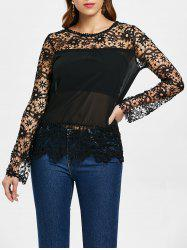 Stylish Round Neck Long Sleeve Spliced Hollow Out Women's Blouse -