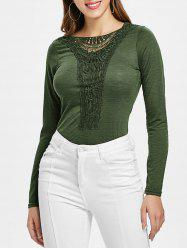 Casual Scoop Neck Hollow Out Crochet Spliced Solid Color T-Shirt For Women -