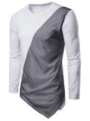 Asymmetric Long Sleeve Mesh Panel T-shirt -