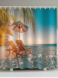 Beach Chair Print Waterproof Bathroom Shower Curtain -