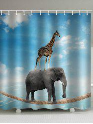 Elephant Acrobatics Print Waterproof Bathroom Shower Curtain -