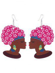 Indian Lady Wooden Hook Earrings -
