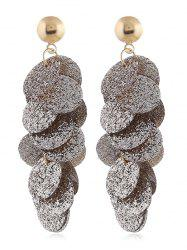 Round Sequin Fringed Grind Drop Earrings -