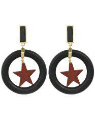 Round Shaped Star Design Drop Earrings -
