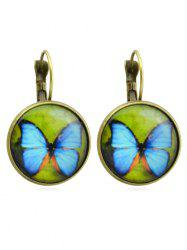 Butterfly Printed Round Shape Dangle Earrings -