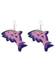 Joyful Dolphin Wooden Hook Earrings -