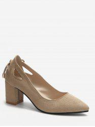 Plus Size Block Heel Cut Out Pumps -