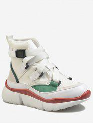 Buckled High Top Contrasting Color Sneakers -