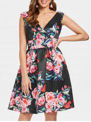 Floral Print Empire Waist Sleeveless Dress -