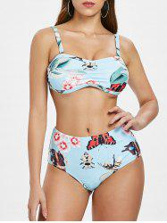 Floral Insect Print Removable Straps Bikini -