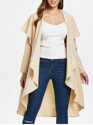 Ruffle-front Long Sleeve Drape Coat -