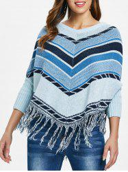 Striped Fringed Cape Sweater -