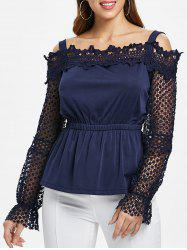Lace Cold Shoulder Peplum Blouse -