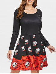 Long Sleeve Skull Print Halloween Dress -